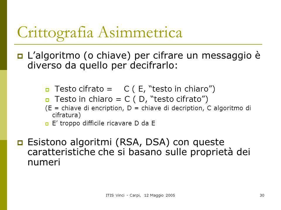 ITIS Vinci - Carpi, 12 Maggio 200530 Crittografia Asimmetrica Lalgoritmo (o chiave) per cifrare un messaggio è diverso da quello per decifrarlo: Testo