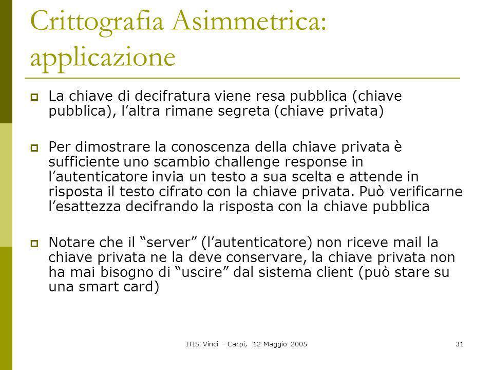 ITIS Vinci - Carpi, 12 Maggio 200531 Crittografia Asimmetrica: applicazione La chiave di decifratura viene resa pubblica (chiave pubblica), laltra rim