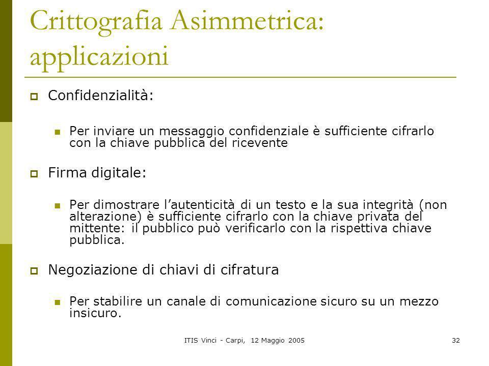 ITIS Vinci - Carpi, 12 Maggio 200532 Crittografia Asimmetrica: applicazioni Confidenzialità: Per inviare un messaggio confidenziale è sufficiente cifr