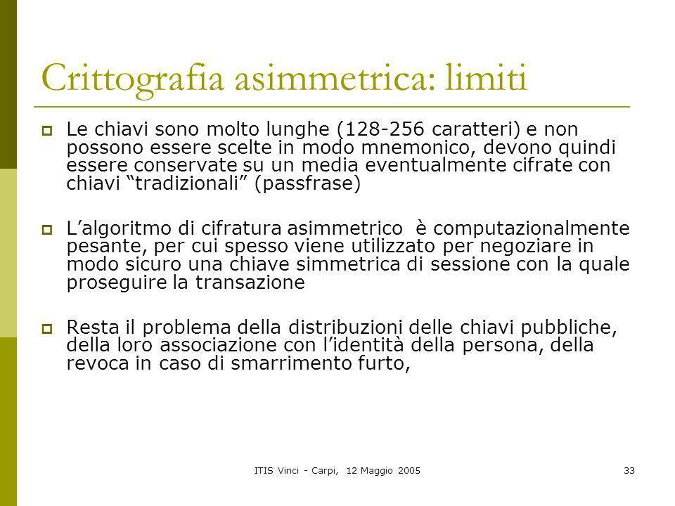 ITIS Vinci - Carpi, 12 Maggio 200533 Crittografia asimmetrica: limiti Le chiavi sono molto lunghe (128-256 caratteri) e non possono essere scelte in m