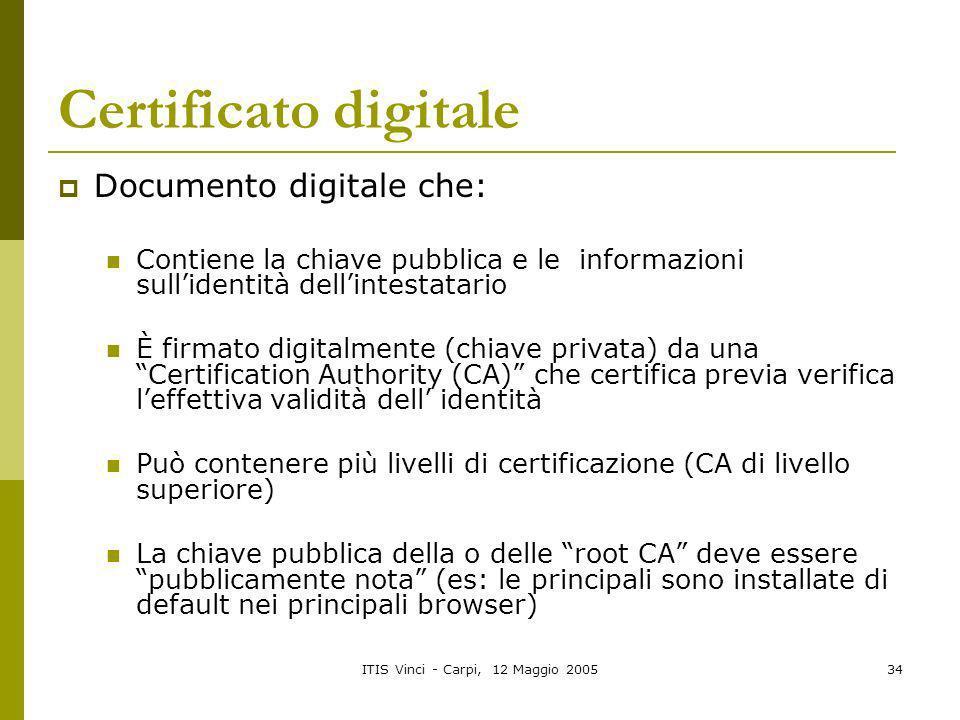 ITIS Vinci - Carpi, 12 Maggio 200534 Certificato digitale Documento digitale che: Contiene la chiave pubblica e le informazioni sullidentità dellintes
