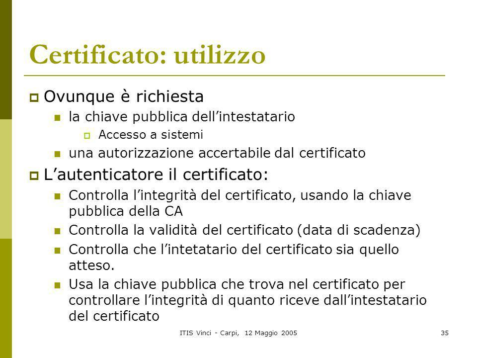 ITIS Vinci - Carpi, 12 Maggio 200535 Certificato: utilizzo Ovunque è richiesta la chiave pubblica dellintestatario Accesso a sistemi una autorizzazion