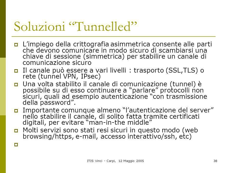 ITIS Vinci - Carpi, 12 Maggio 200538 Soluzioni Tunnelled Limpiego della crittografia asimmetrica consente alle parti che devono comunicare in modo sic