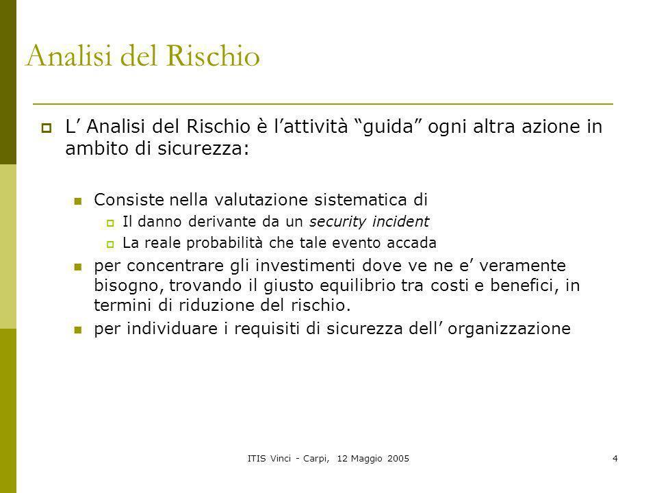 ITIS Vinci - Carpi, 12 Maggio 20054 Analisi del Rischio L Analisi del Rischio è lattività guida ogni altra azione in ambito di sicurezza: Consiste nel