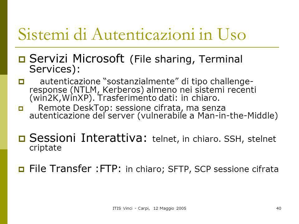 ITIS Vinci - Carpi, 12 Maggio 200540 Sistemi di Autenticazioni in Uso Servizi Microsoft (File sharing, Terminal Services): autenticazione sostanzialme