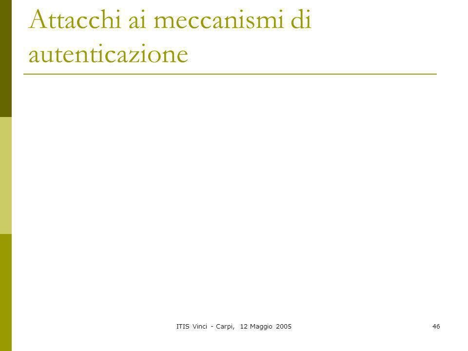 ITIS Vinci - Carpi, 12 Maggio 200546 Attacchi ai meccanismi di autenticazione