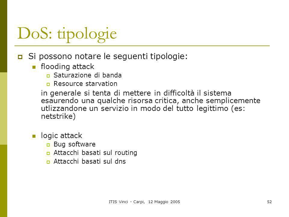 ITIS Vinci - Carpi, 12 Maggio 200552 DoS: tipologie Si possono notare le seguenti tipologie: flooding attack Saturazione di banda Resource starvation