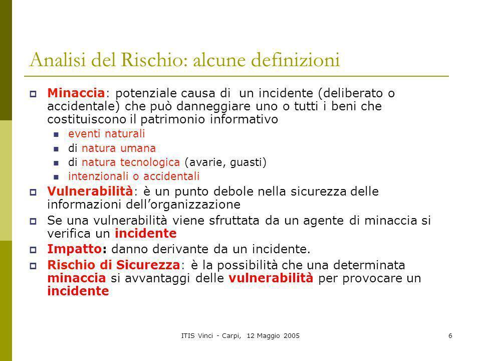 ITIS Vinci - Carpi, 12 Maggio 20056 Analisi del Rischio: alcune definizioni Minaccia: potenziale causa di un incidente (deliberato o accidentale) che