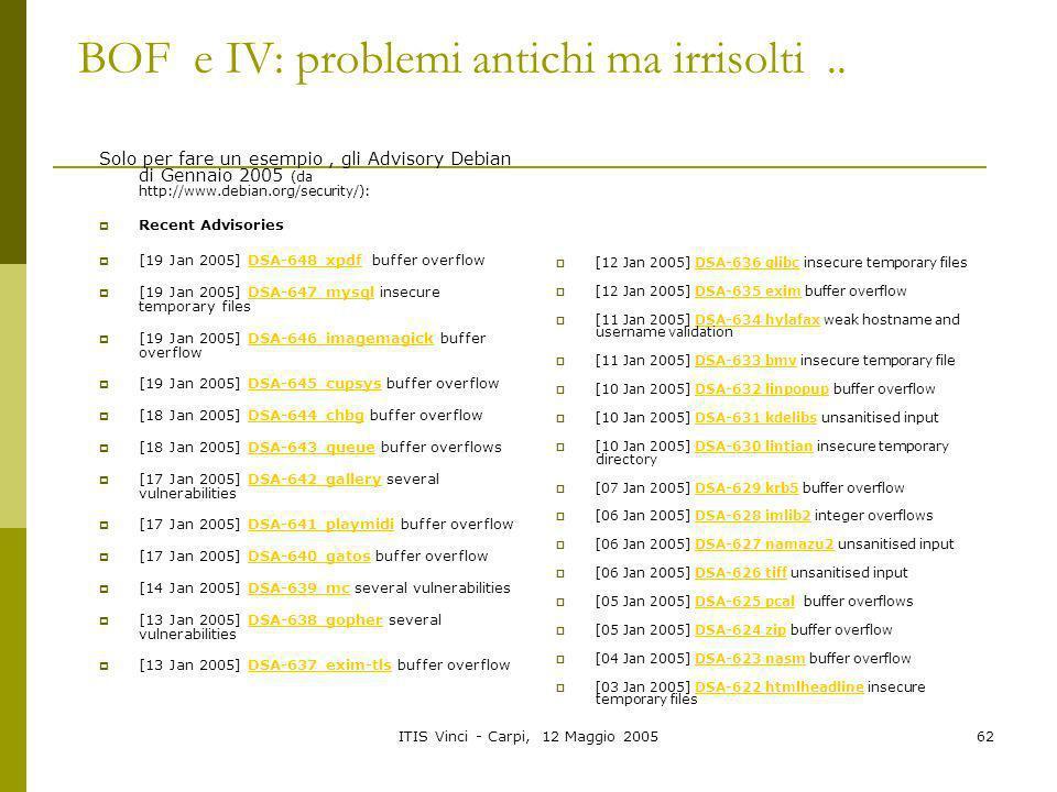 ITIS Vinci - Carpi, 12 Maggio 200562 BOF e IV: problemi antichi ma irrisolti.. Solo per fare un esempio, gli Advisory Debian di Gennaio 2005 (da http:
