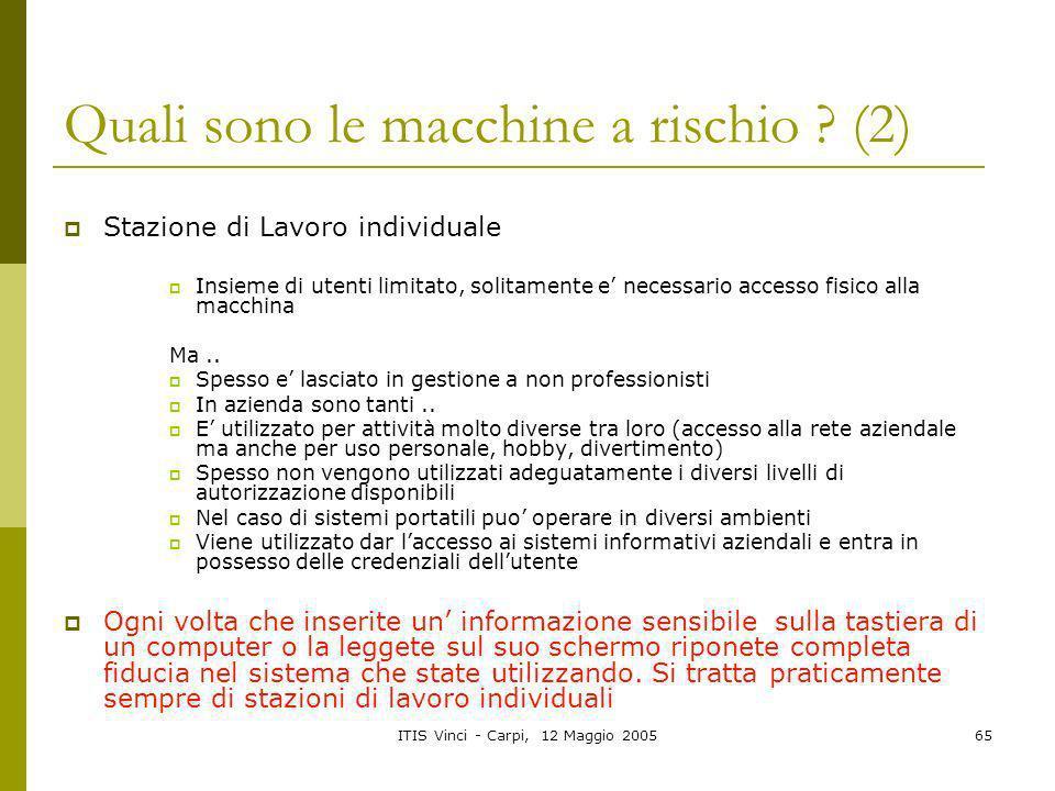 ITIS Vinci - Carpi, 12 Maggio 200565 Quali sono le macchine a rischio ? (2) Stazione di Lavoro individuale Insieme di utenti limitato, solitamente e n