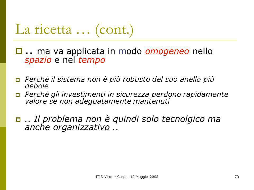 ITIS Vinci - Carpi, 12 Maggio 200573 La ricetta … (cont.).. ma va applicata in modo omogeneo nello spazio e nel tempo Perché il sistema non è più robu