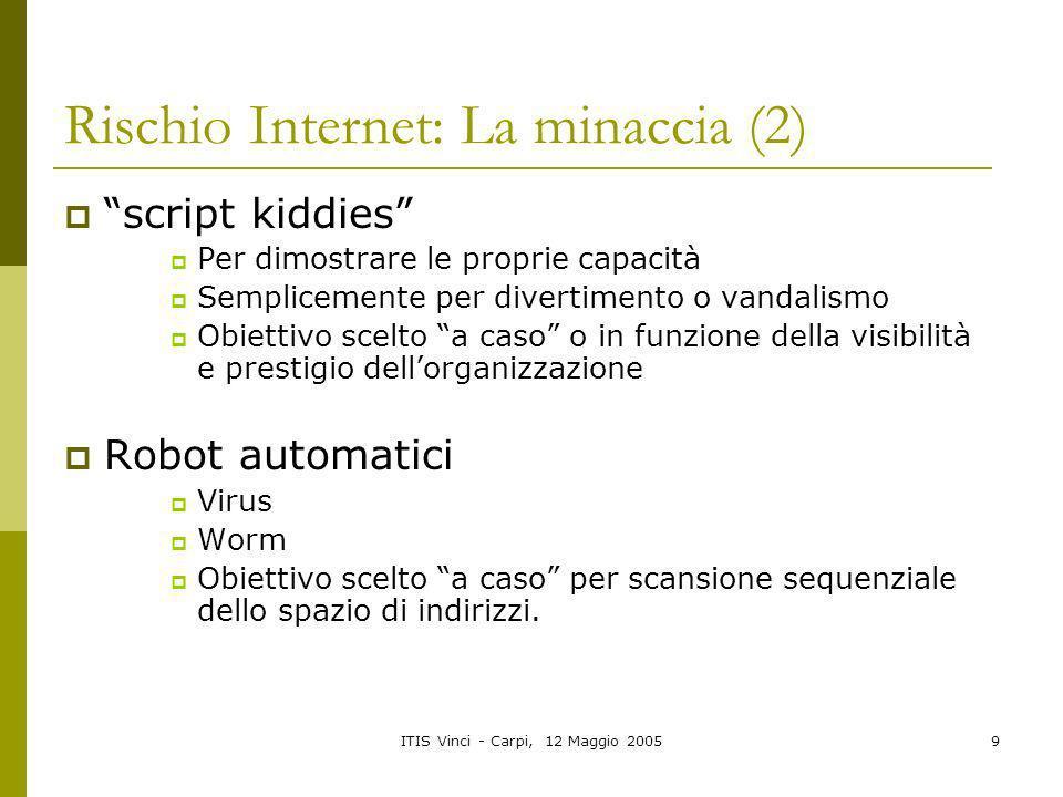 ITIS Vinci - Carpi, 12 Maggio 20059 Rischio Internet: La minaccia (2) script kiddies Per dimostrare le proprie capacità Semplicemente per divertimento