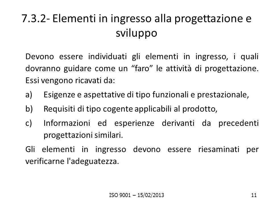 7.3.2- Elementi in ingresso alla progettazione e sviluppo Devono essere individuati gli elementi in ingresso, i quali dovranno guidare come un faro le attività di progettazione.