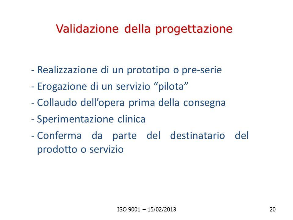 Validazione della progettazione -Realizzazione di un prototipo o pre-serie -Erogazione di un servizio pilota -Collaudo dellopera prima della consegna -Sperimentazione clinica -Conferma da parte del destinatario del prodotto o servizio ISO 9001 – 15/02/201320