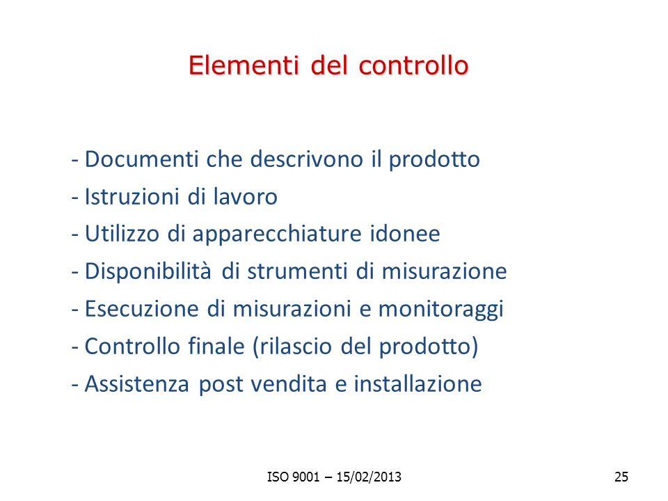 Elementi del controllo -Documenti che descrivono il prodotto -Istruzioni di lavoro -Utilizzo di apparecchiature idonee -Disponibilità di strumenti di misurazione -Esecuzione di misurazioni e monitoraggi -Controllo finale (rilascio del prodotto) -Assistenza post vendita e installazione ISO 9001 – 15/02/201325