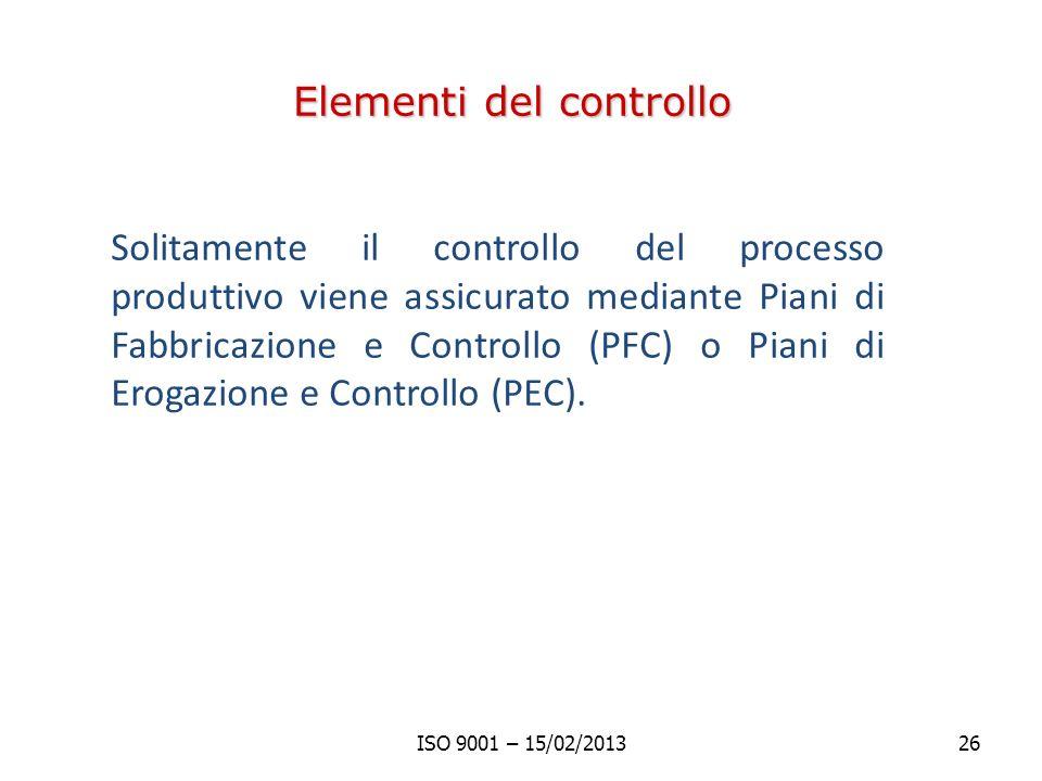 Elementi del controllo Solitamente il controllo del processo produttivo viene assicurato mediante Piani di Fabbricazione e Controllo (PFC) o Piani di Erogazione e Controllo (PEC).