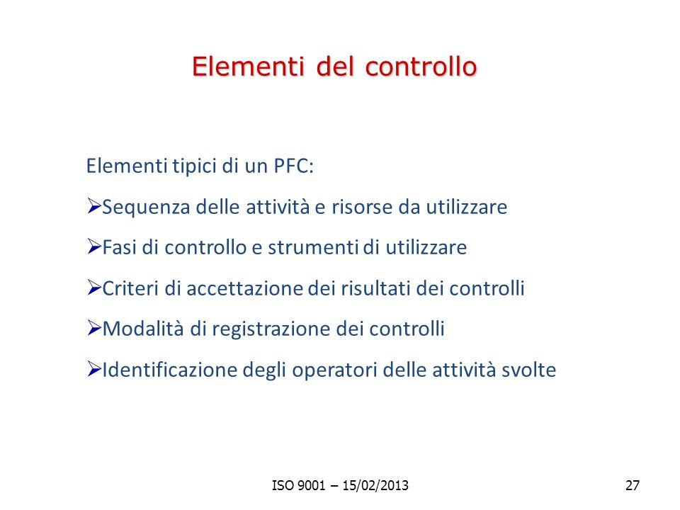 Elementi del controllo Elementi tipici di un PFC: Sequenza delle attività e risorse da utilizzare Fasi di controllo e strumenti di utilizzare Criteri di accettazione dei risultati dei controlli Modalità di registrazione dei controlli Identificazione degli operatori delle attività svolte ISO 9001 – 15/02/201327