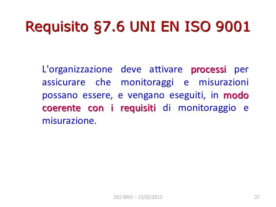 Requisito §7.6 UNI EN ISO 9001 processi modo coerente con i requisiti L organizzazione deve attivare processi per assicurare che monitoraggi e misurazioni possano essere, e vengano eseguiti, in modo coerente con i requisiti di monitoraggio e misurazione.
