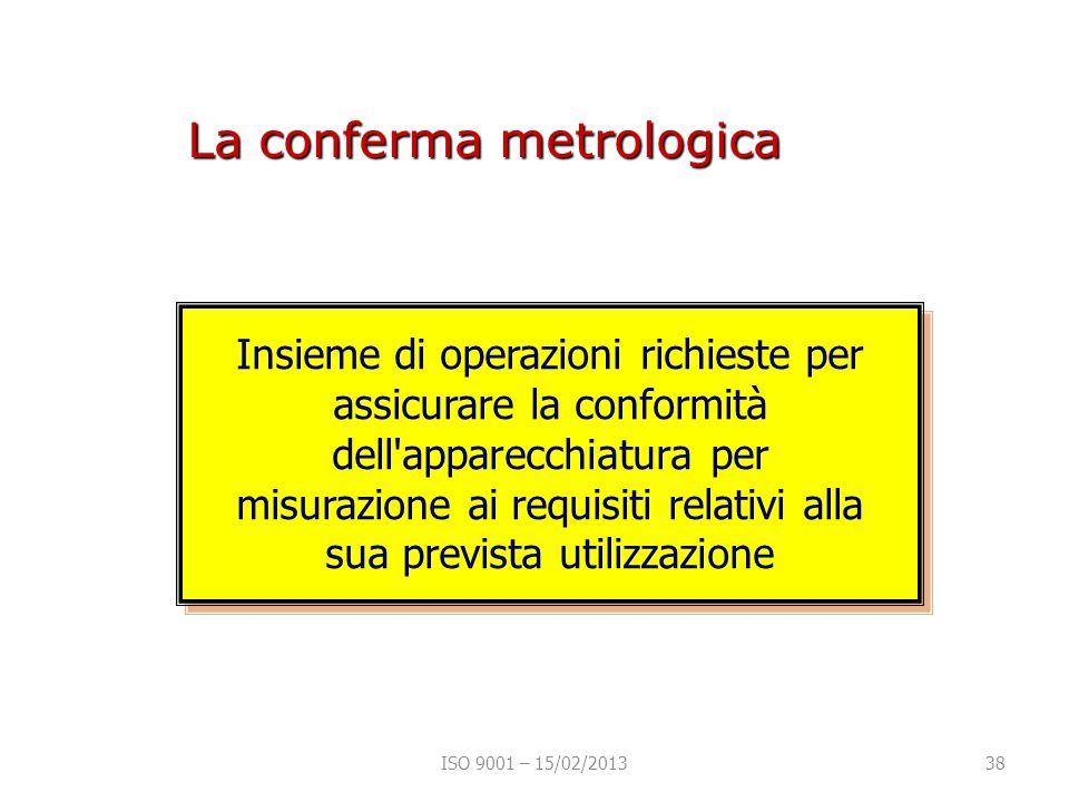 La conferma metrologica Insieme di operazioni richieste per assicurare la conformità dell apparecchiatura per misurazione ai requisiti relativi alla sua prevista utilizzazione ISO 9001 – 15/02/201338