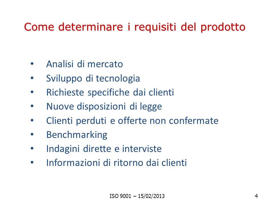 Come determinare i requisiti del prodotto Analisi di mercato Sviluppo di tecnologia Richieste specifiche dai clienti Nuove disposizioni di legge Clienti perduti e offerte non confermate Benchmarking Indagini dirette e interviste Informazioni di ritorno dai clienti ISO 9001 – 15/02/20134