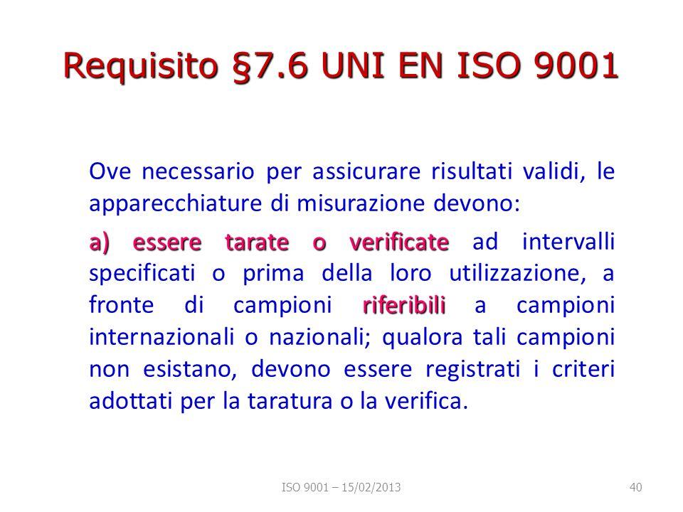 Requisito §7.6 UNI EN ISO 9001 Ove necessario per assicurare risultati validi, le apparecchiature di misurazione devono: a) essere tarate o verificate riferibili a) essere tarate o verificate ad intervalli specificati o prima della loro utilizzazione, a fronte di campioni riferibili a campioni internazionali o nazionali; qualora tali campioni non esistano, devono essere registrati i criteri adottati per la taratura o la verifica.