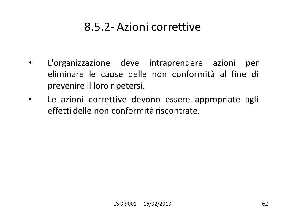 8.5.2- Azioni correttive L organizzazione deve intraprendere azioni per eliminare le cause delle non conformità al fine di prevenire il loro ripetersi.