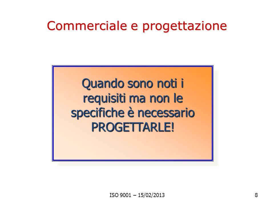 Commerciale e progettazione ISO 9001 – 15/02/20138 Quando sono noti i requisiti ma non le specifiche è necessario PROGETTARLE!