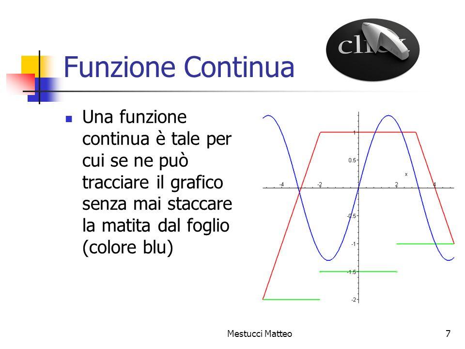 Mestucci Matteo8 Funzione Crescente Una funzione f(x) è crescente in un intervallo [a,b] del suo dominio se, allaumentare dei valori della x, aumentano anche quelli della y.
