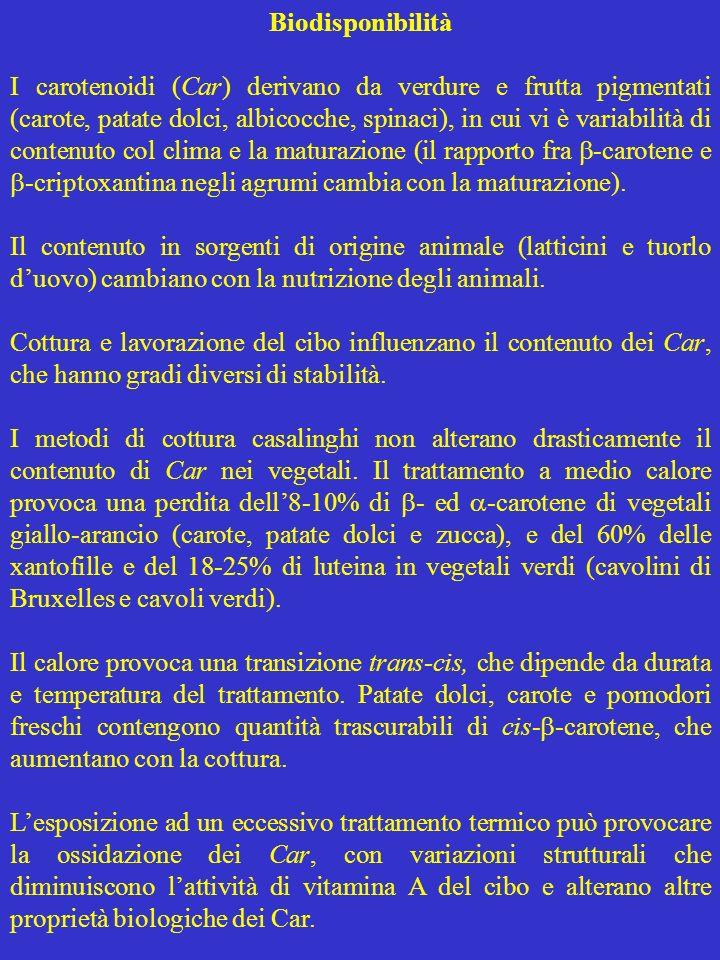 Biodisponibilità I carotenoidi (Car) derivano da verdure e frutta pigmentati (carote, patate dolci, albicocche, spinaci), in cui vi è variabilità di c
