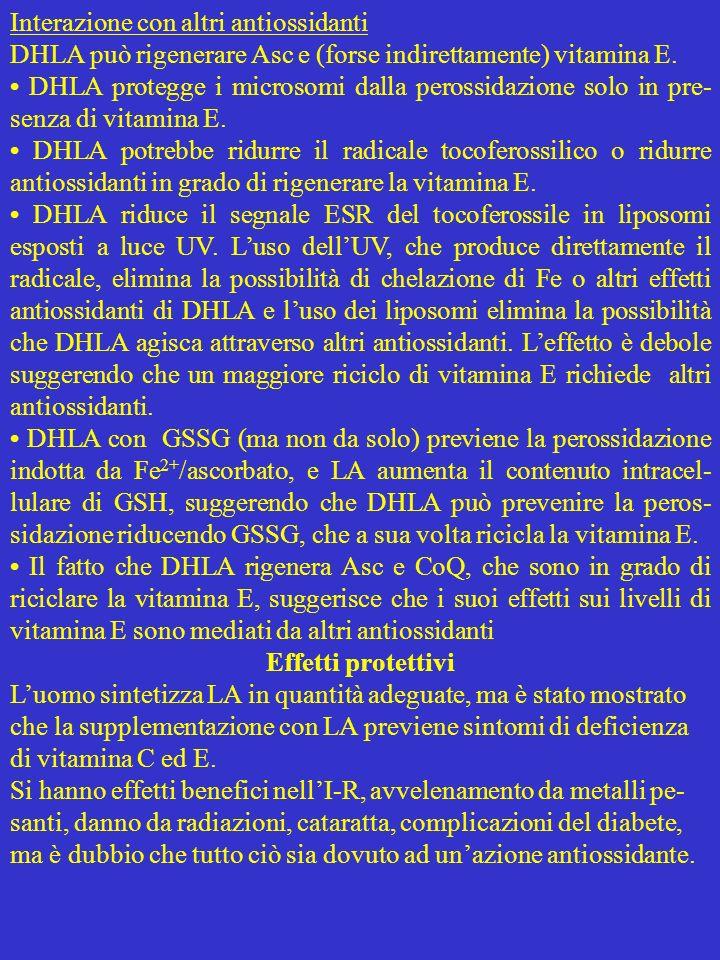 Interazione con altri antiossidanti DHLA può rigenerare Asc e (forse indirettamente) vitamina E. DHLA protegge i microsomi dalla perossidazione solo i