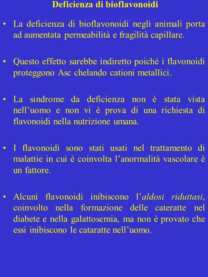 Deficienza di bioflavonoidi La deficienza di bioflavonoidi negli animali porta ad aumentata permeabilità e fragilità capillare. Questo effetto sarebbe
