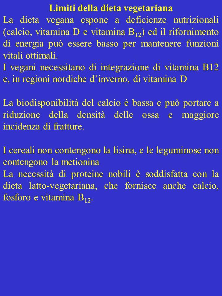 Limiti della dieta vegetariana La dieta vegana espone a deficienze nutrizionali (calcio, vitamina D e vitamina B 12 ) ed il rifornimento di energia pu