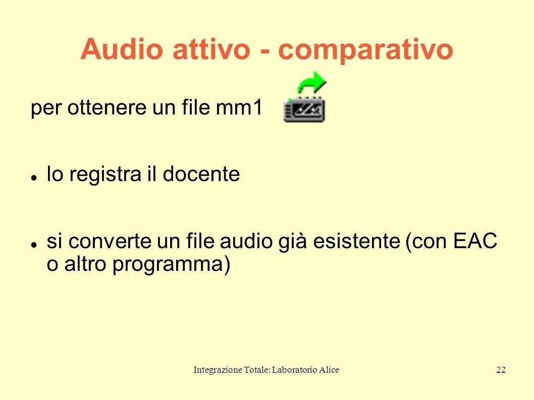 Integrazione Totale: Laboratorio Alice22 Audio attivo - comparativo per ottenere un file mm1 lo registra il docente si converte un file audio già esis