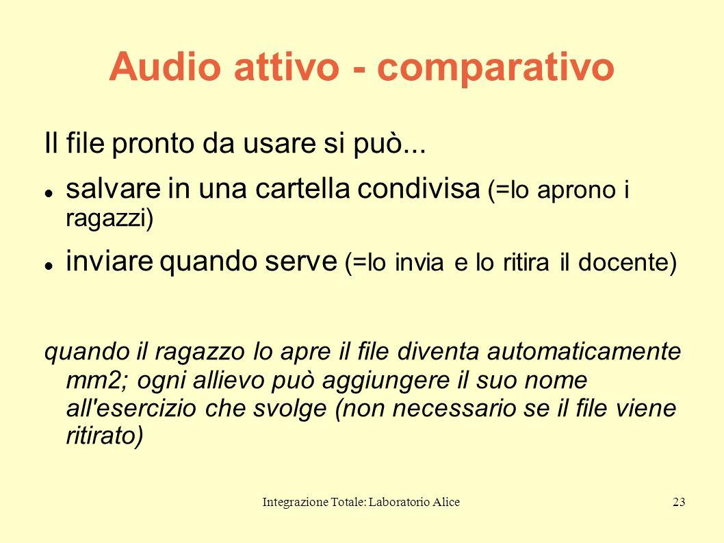 Integrazione Totale: Laboratorio Alice23 Audio attivo - comparativo Il file pronto da usare si può... salvare in una cartella condivisa (=lo aprono i