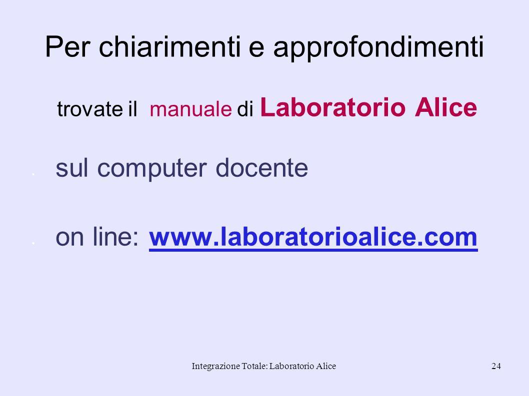 Integrazione Totale: Laboratorio Alice24 Per chiarimenti e approfondimenti trovate il manuale di Laboratorio Alice sul computer docente on line: www.l