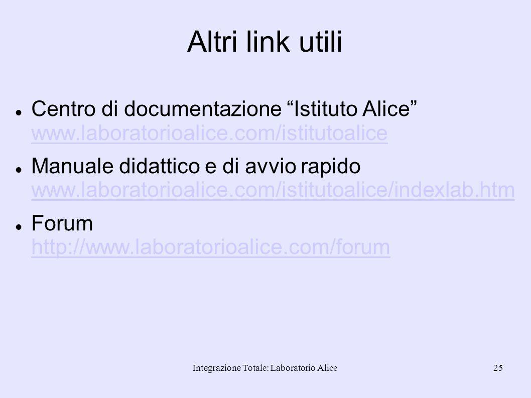 Integrazione Totale: Laboratorio Alice25 Altri link utili Centro di documentazione Istituto Alice www.laboratorioalice.com/istitutoalice www.laborator