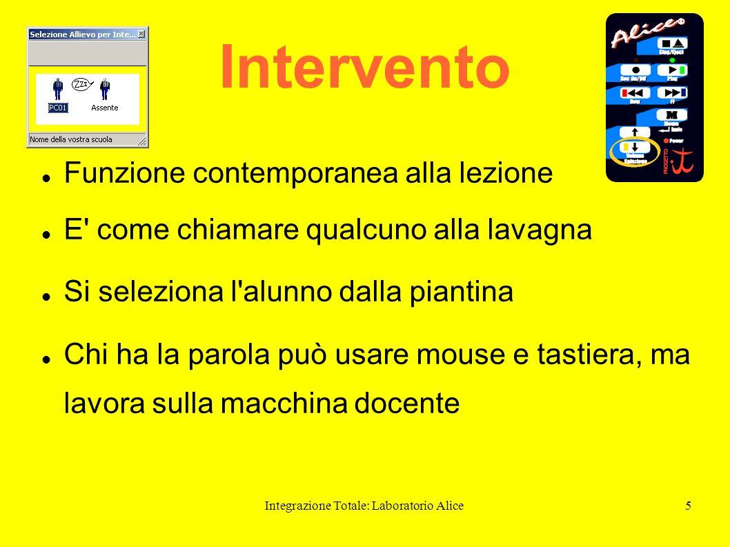 Integrazione Totale: Laboratorio Alice5 Intervento Funzione contemporanea alla lezione E' come chiamare qualcuno alla lavagna Si seleziona l'alunno da
