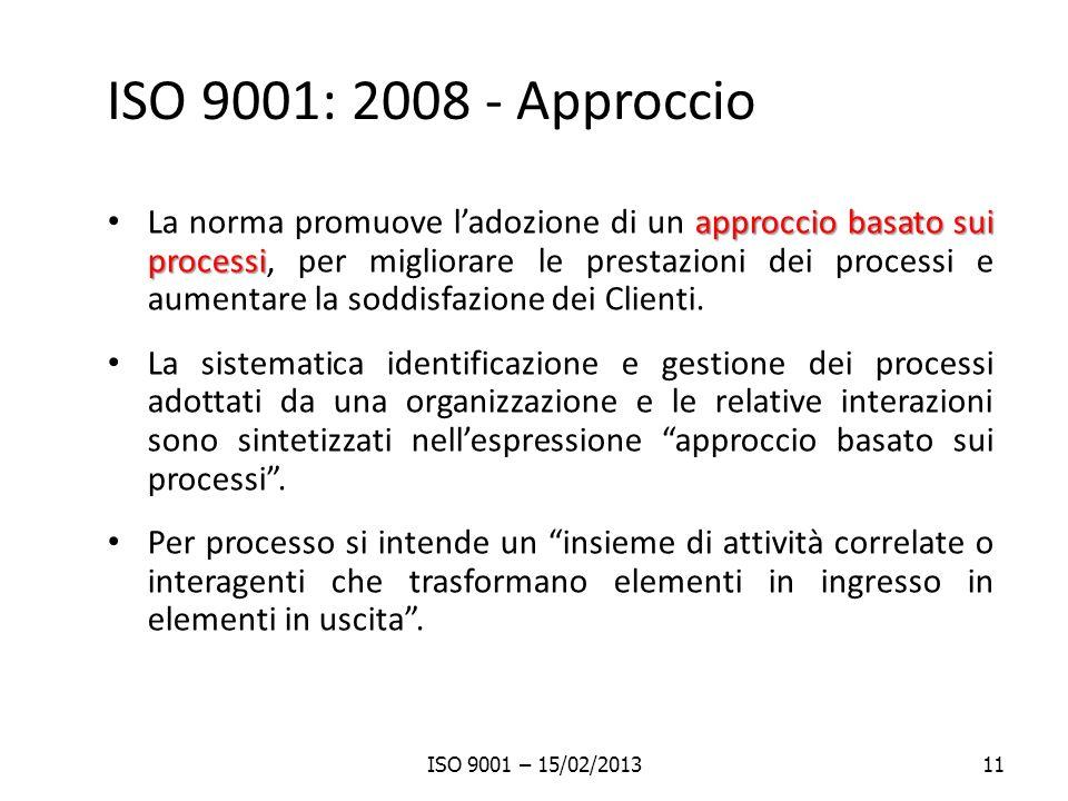 ISO 9001: 2008 - Approccio approccio basato sui processi La norma promuove ladozione di un approccio basato sui processi, per migliorare le prestazion