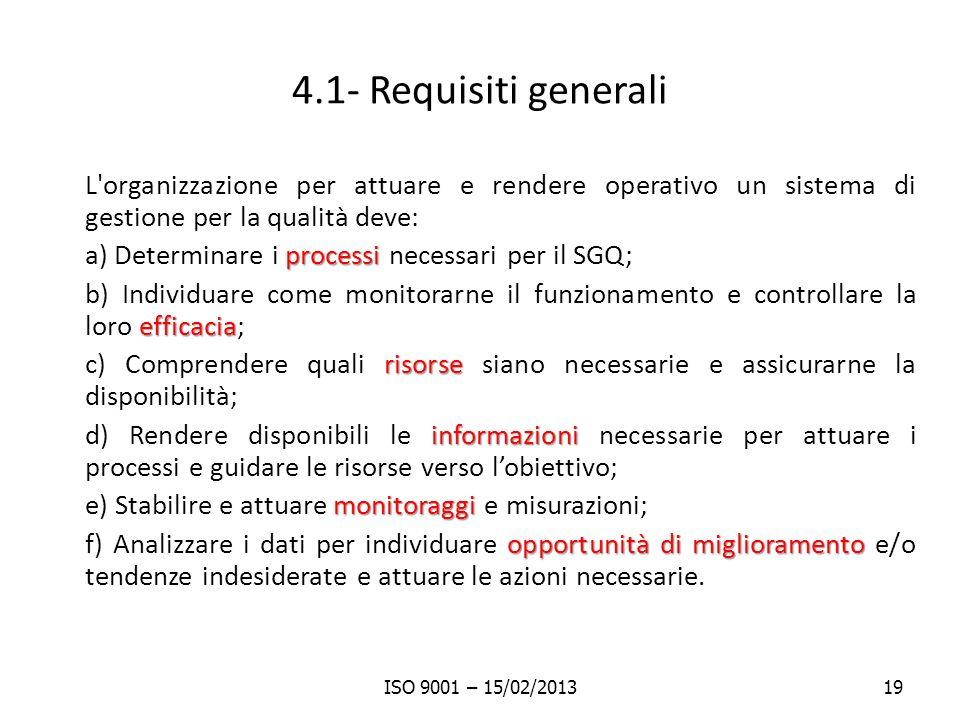4.1- Requisiti generali L'organizzazione per attuare e rendere operativo un sistema di gestione per la qualità deve: processi a) Determinare i process