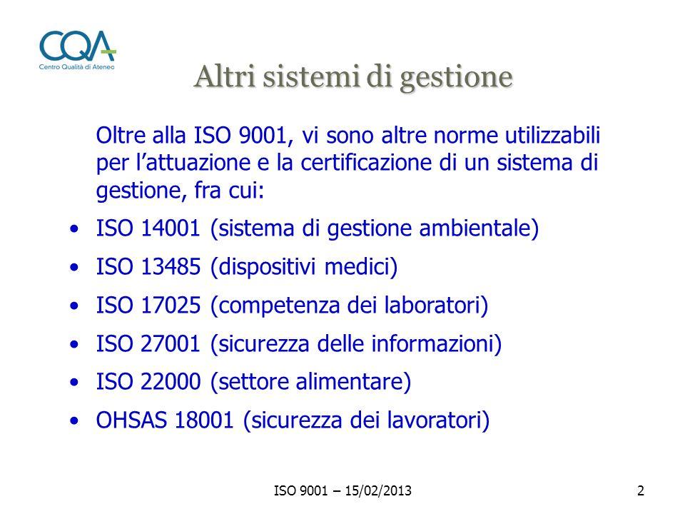 ISO 9001 – 15/02/201313 Cliente e altre parti interessate MIGLIORAMENTO CONTINUO DEL SISTEMA DI GESTIONE PER LA QUALITA Cliente e altre parti interessate Requisiti Responsabilità della direzione Gestione delle risorse Misure, analisi e miglioramento Prodotto Il modello ISO 9000 Soddisfazione Realizzazione del prodotto ISO 9000:2008 Informazioni Valore aggiunto