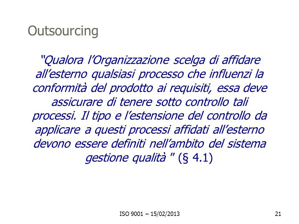 ISO 9001 – 15/02/201321 Outsourcing Qualora lOrganizzazione scelga di affidare allesterno qualsiasi processo che influenzi la conformità del prodotto