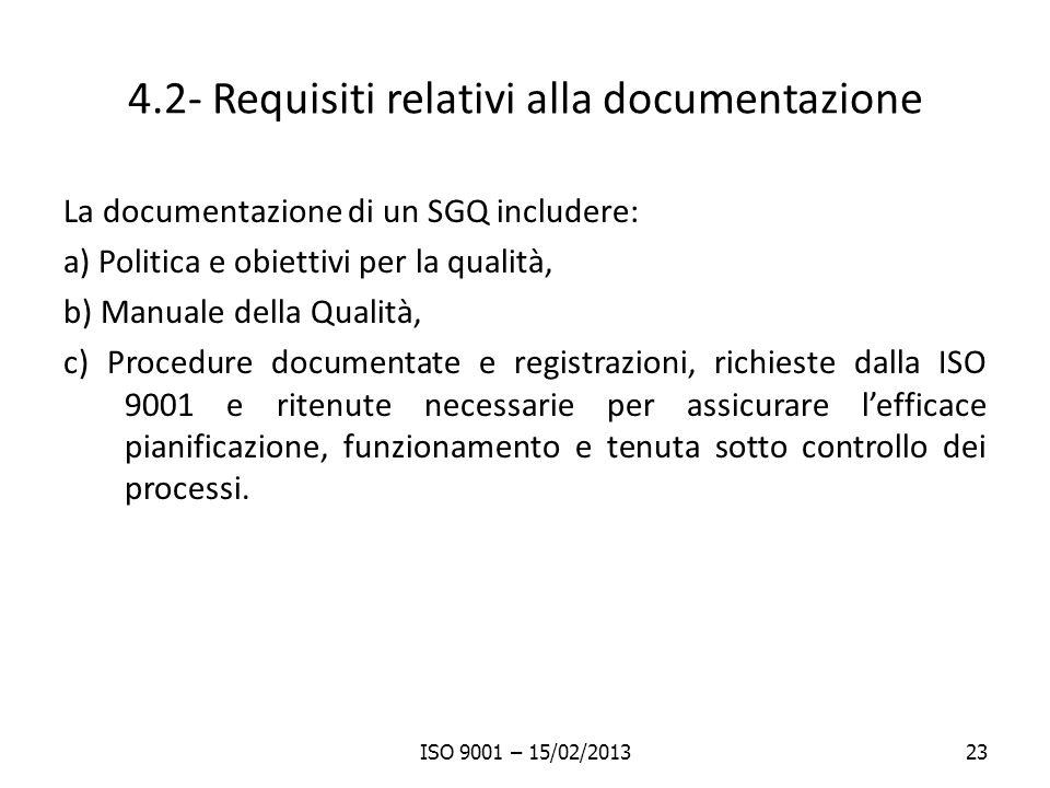 4.2- Requisiti relativi alla documentazione La documentazione di un SGQ includere: a) Politica e obiettivi per la qualità, b) Manuale della Qualità, c