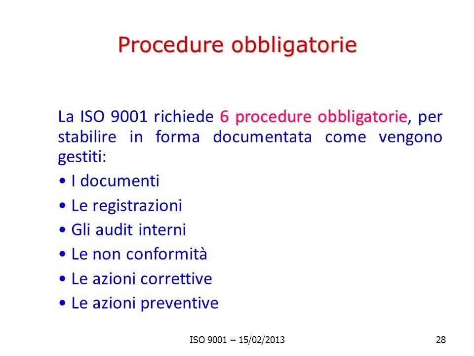 Procedure obbligatorie 6 procedure obbligatorie La ISO 9001 richiede 6 procedure obbligatorie, per stabilire in forma documentata come vengono gestiti