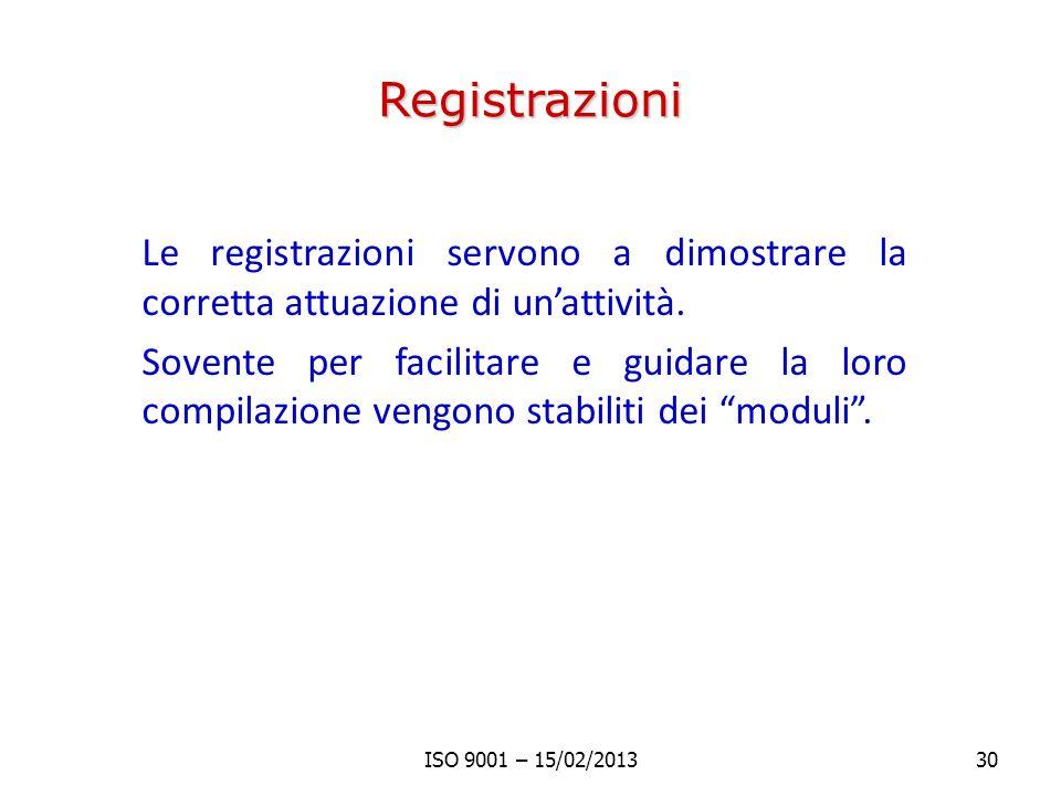 Registrazioni Le registrazioni servono a dimostrare la corretta attuazione di unattività. Sovente per facilitare e guidare la loro compilazione vengon