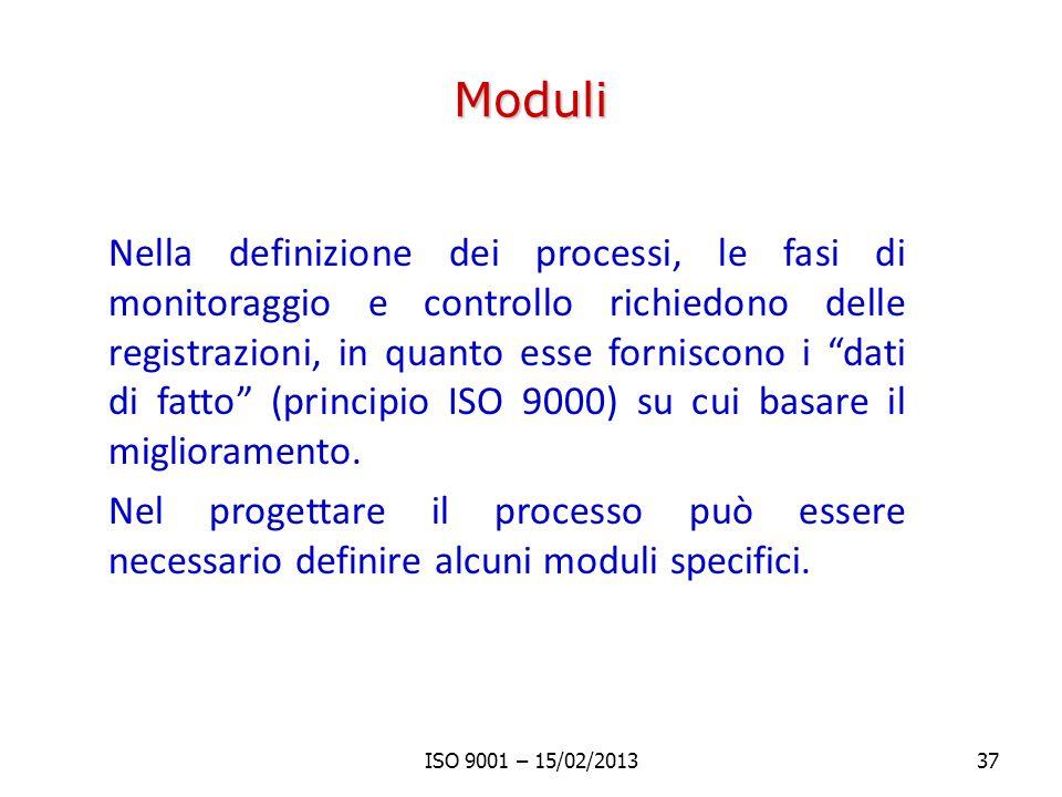 Moduli Nella definizione dei processi, le fasi di monitoraggio e controllo richiedono delle registrazioni, in quanto esse forniscono i dati di fatto (