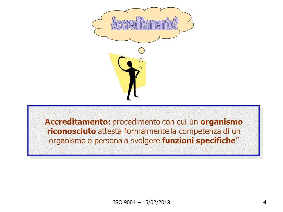 ISO 9001 – 15/02/20134 Accreditamento: procedimento con cui un organismo riconosciuto attesta formalmente la competenza di un organismo o persona a sv