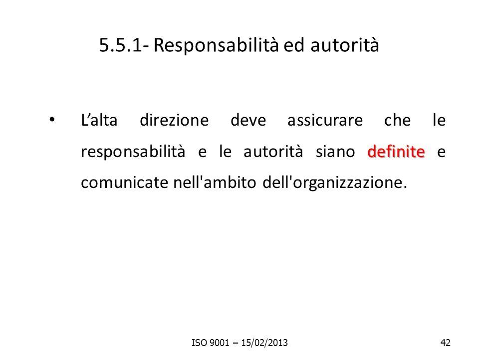 5.5.1- Responsabilità ed autorità definite Lalta direzione deve assicurare che le responsabilità e le autorità siano definite e comunicate nell'ambito