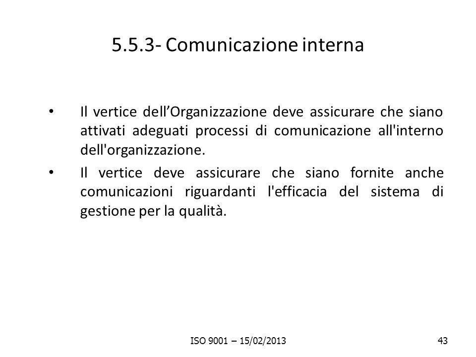 5.5.3- Comunicazione interna Il vertice dellOrganizzazione deve assicurare che siano attivati adeguati processi di comunicazione all'interno dell'orga