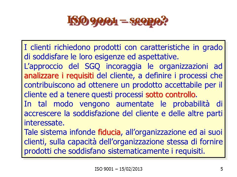 ISO 9001: 2008 - Indice 1 Scopo e Campo di Applicazione 1.1 Generalità 1.2 Applicazione 2 Riferimenti Normativi 3 Termini e definizioni 4 Sistema di gestione per la qualità 4.1 Requisiti generali 4.2 Requisiti relativi alla documentazione ISO 9001 – 15/02/20136