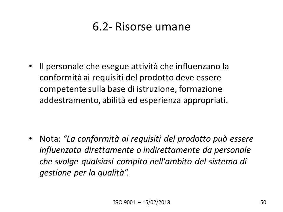 6.2- Risorse umane Il personale che esegue attività che influenzano la conformità ai requisiti del prodotto deve essere competente sulla base di istru
